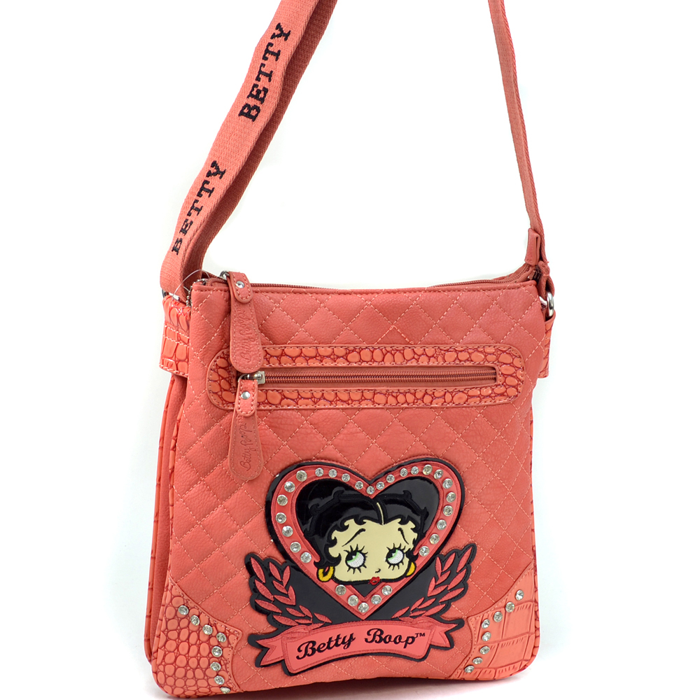 Betty Boop Betty Boop Quilted Messenger Bag with Classic Rhinestone Heart Design