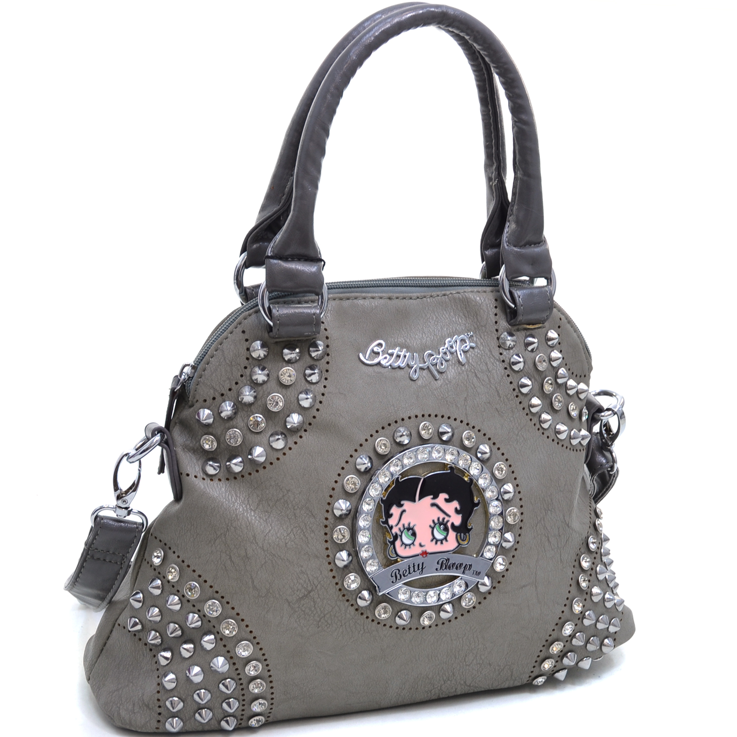 Betty Boop Petite Satchel Bag with Rhinestone and Cone Studded Accents