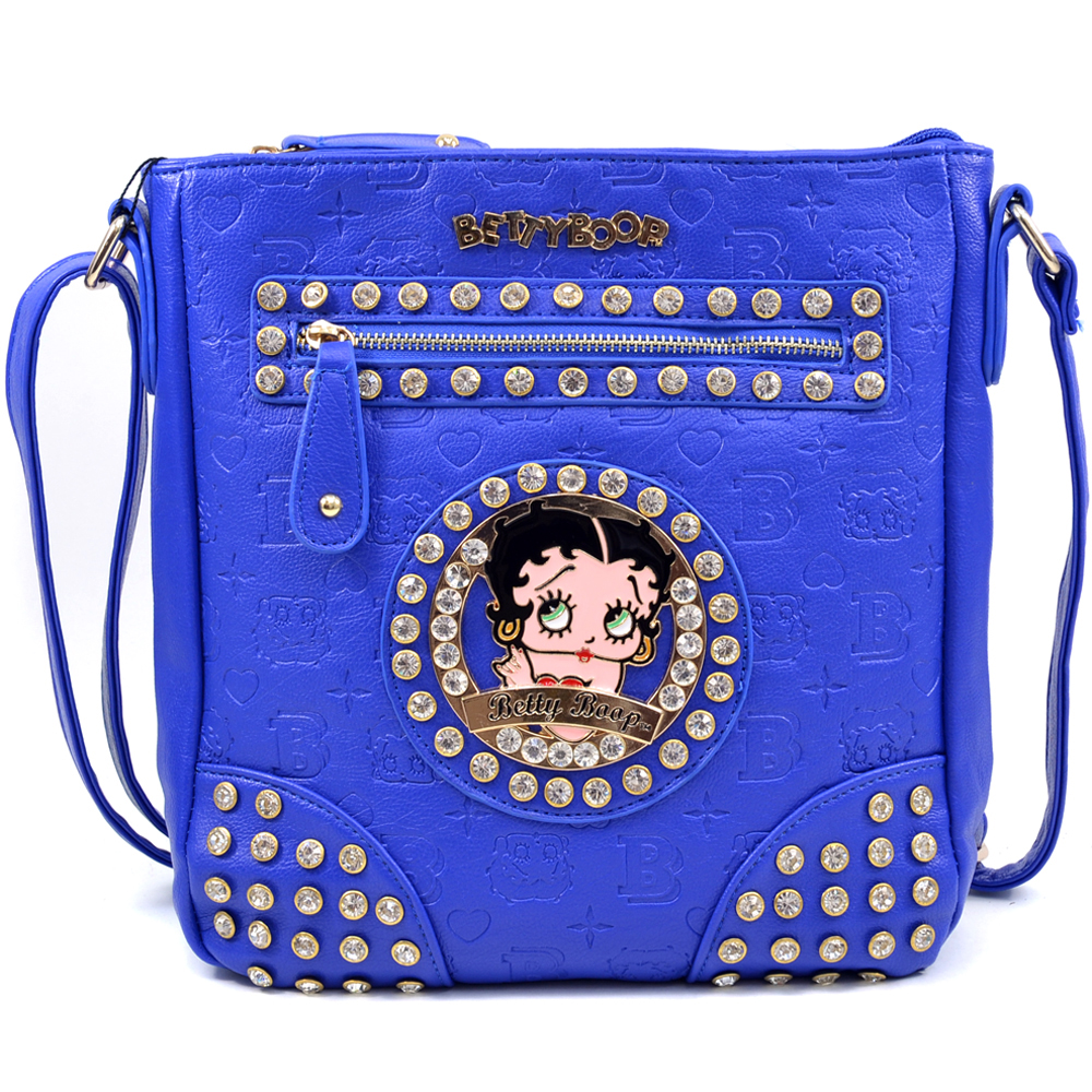 Betty Boop Betty Boop Messenger Bag with Rhinestones and Etched Monogram Design