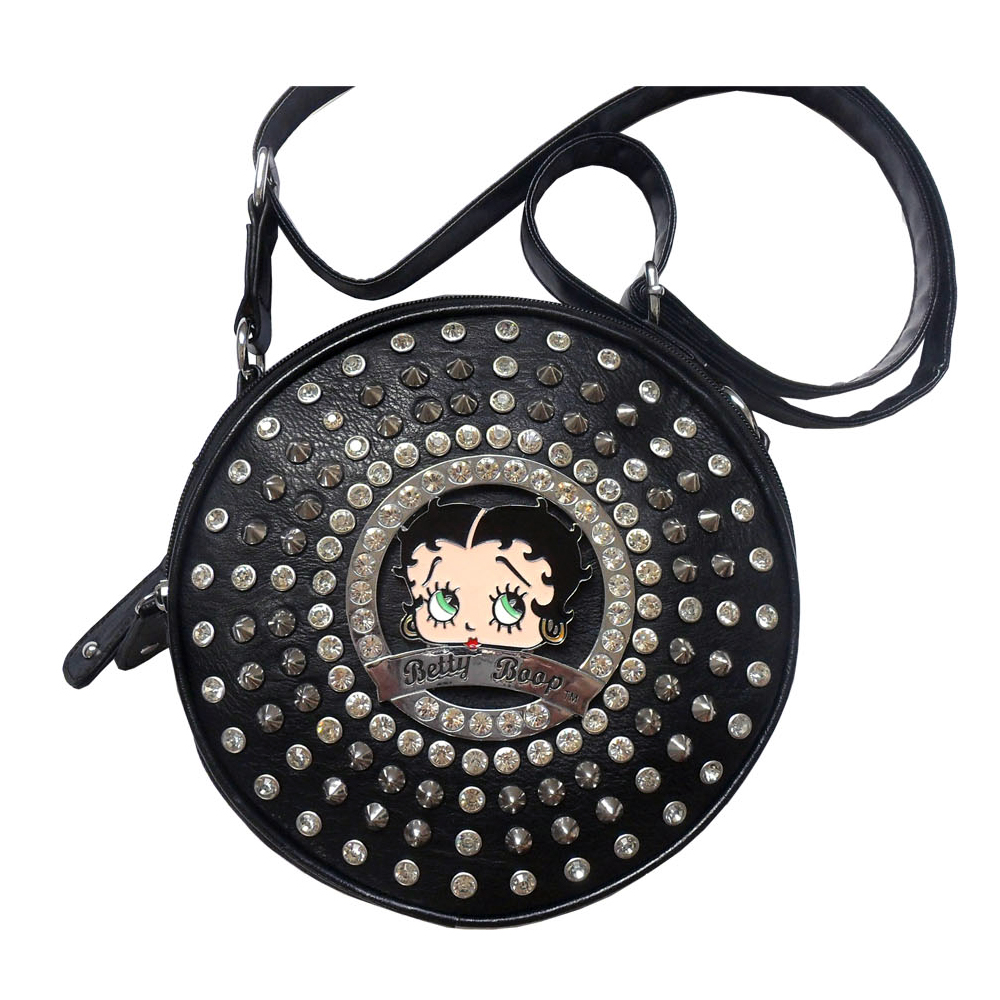 Betty Boop Betty Boop Cylinder Messenger Bag With Rhinestones and Stud Accent