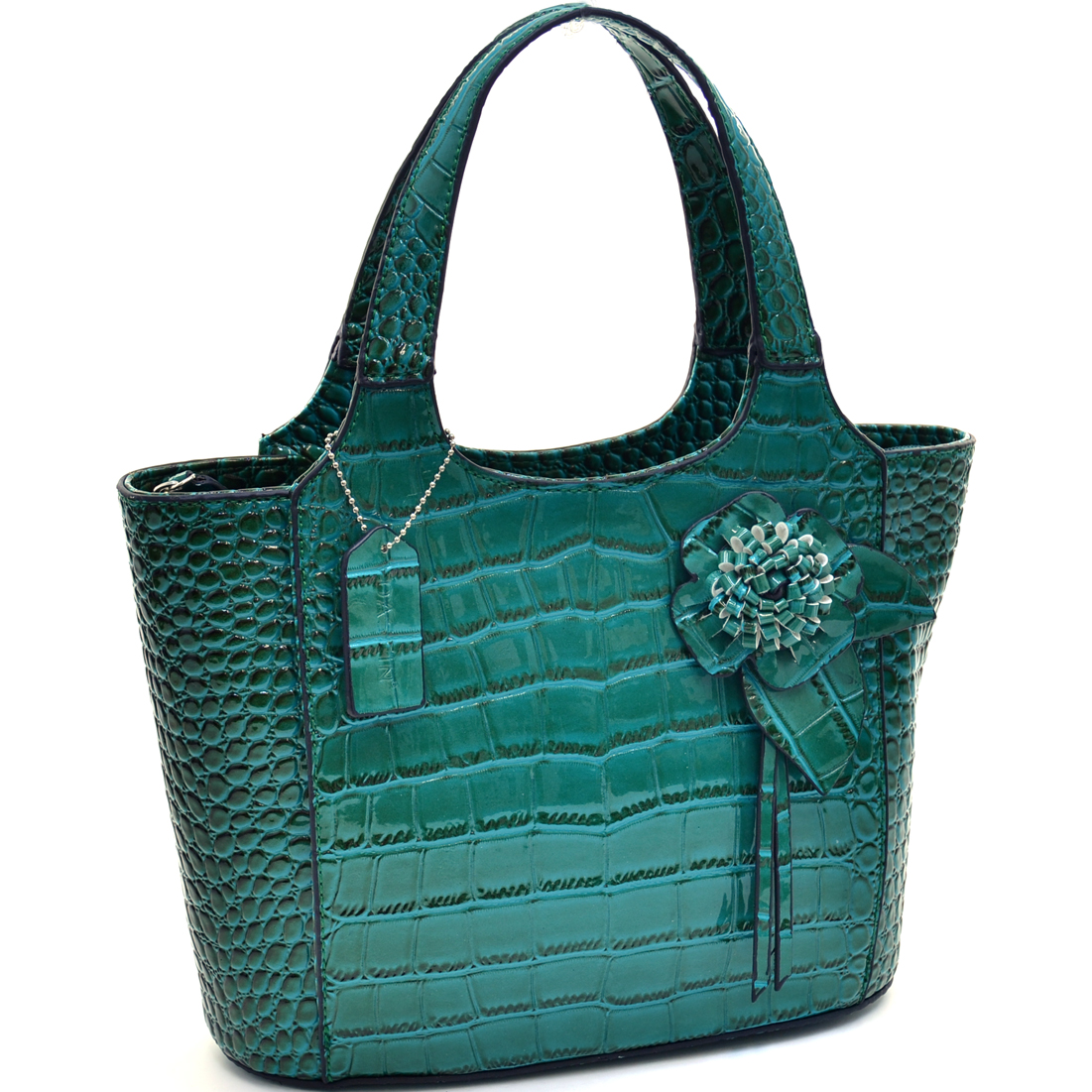 Dasein Petite Patent Shine Croco Satchel With Floral Accent at Sears.com