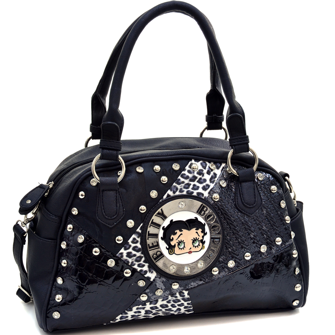 Betty Boop Multi-Patched Bowler Satchel Bag