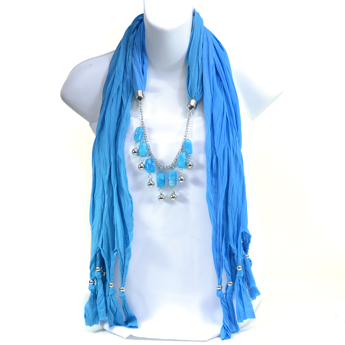 Fashlets Women Silver Beads and Pendant Necklace Scarf with Beaded Fringe