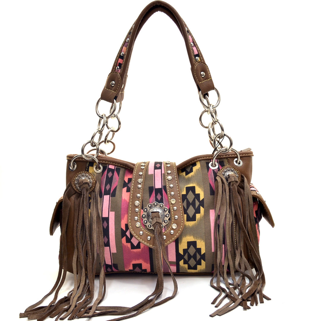 Montana West Fringe Concho Aztec Canvas Handbag at Sears.com