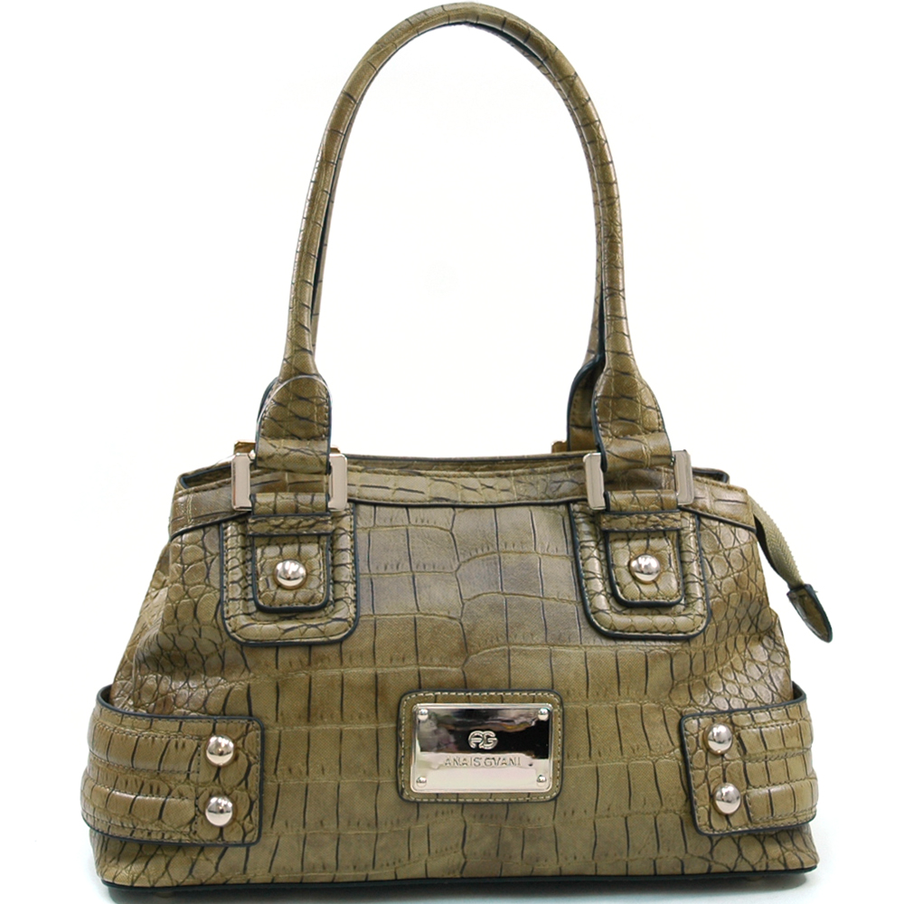 Anais Gvani Women's Matte Croco Fashion Shoulder Bag with Gold Accents - Olive Grn at Sears.com