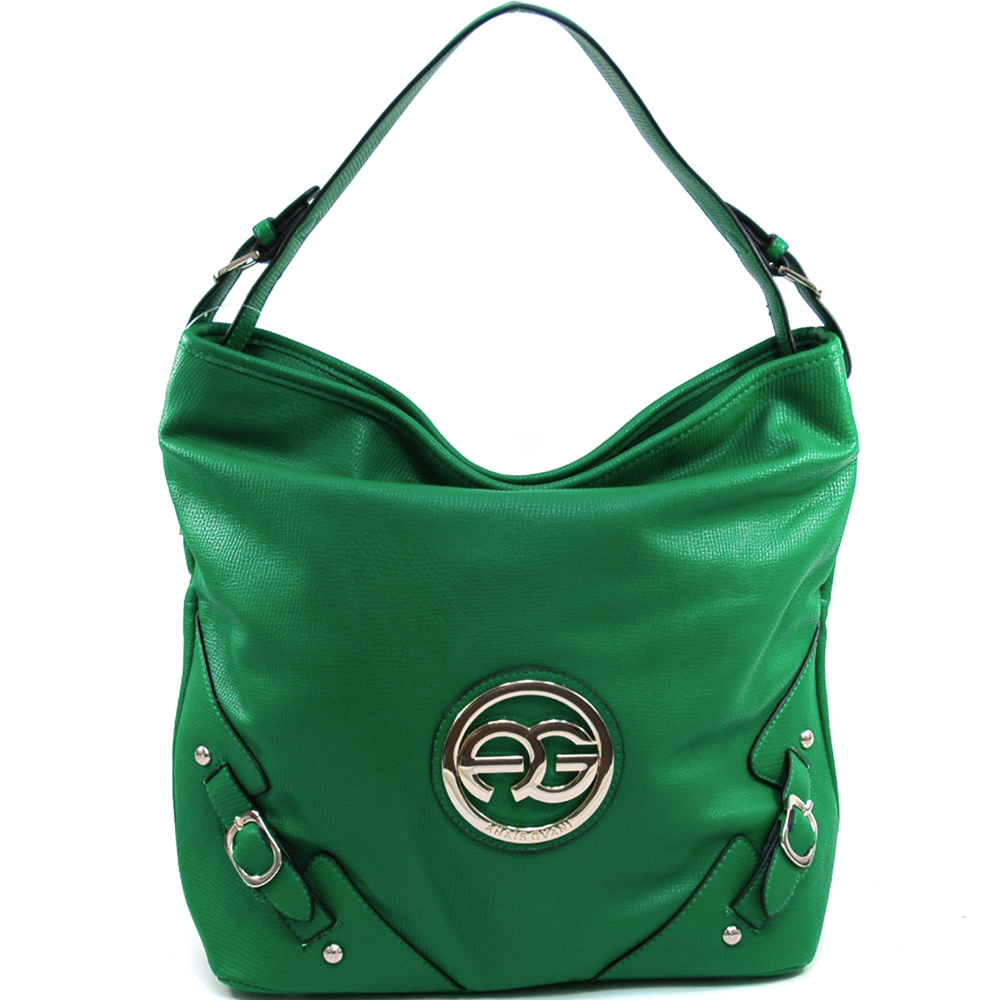 Anais Gvani Women's Classic Belted Tote with Gold Logo Accent - Green at Sears.com