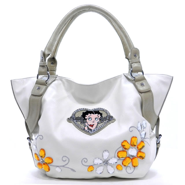 Betty Boop Classic Betty Boop Tote Bag with Flower Gemstone & Rhinestone Heart