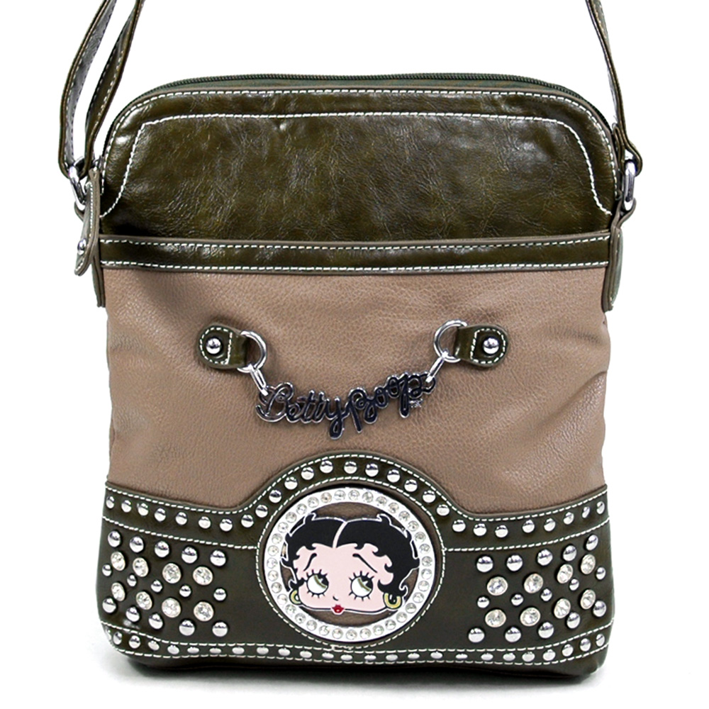 Betty Boop Classic Betty Boop Signature Messenger Bag with Rhinestone & Stud Accents