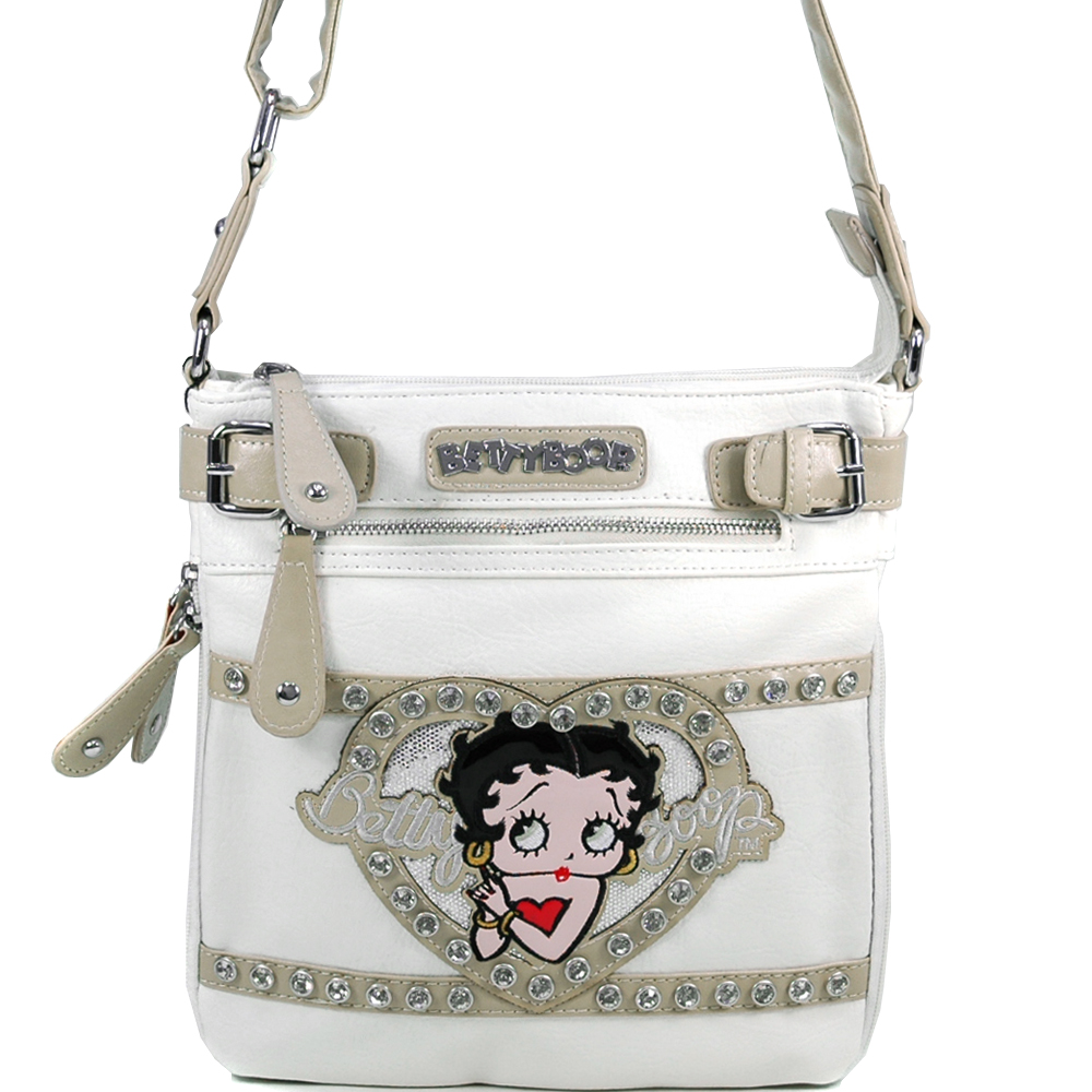 Betty Boop Classic Betty Boop Messenger Bag with Rhinestones & Clear Glossy Accent