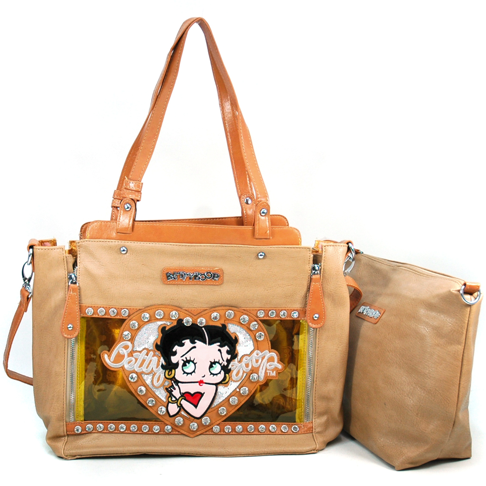 Betty Boop Betty Boop 2-in-1 Tote Bag with Rhinestones & Clear Glossy Accent
