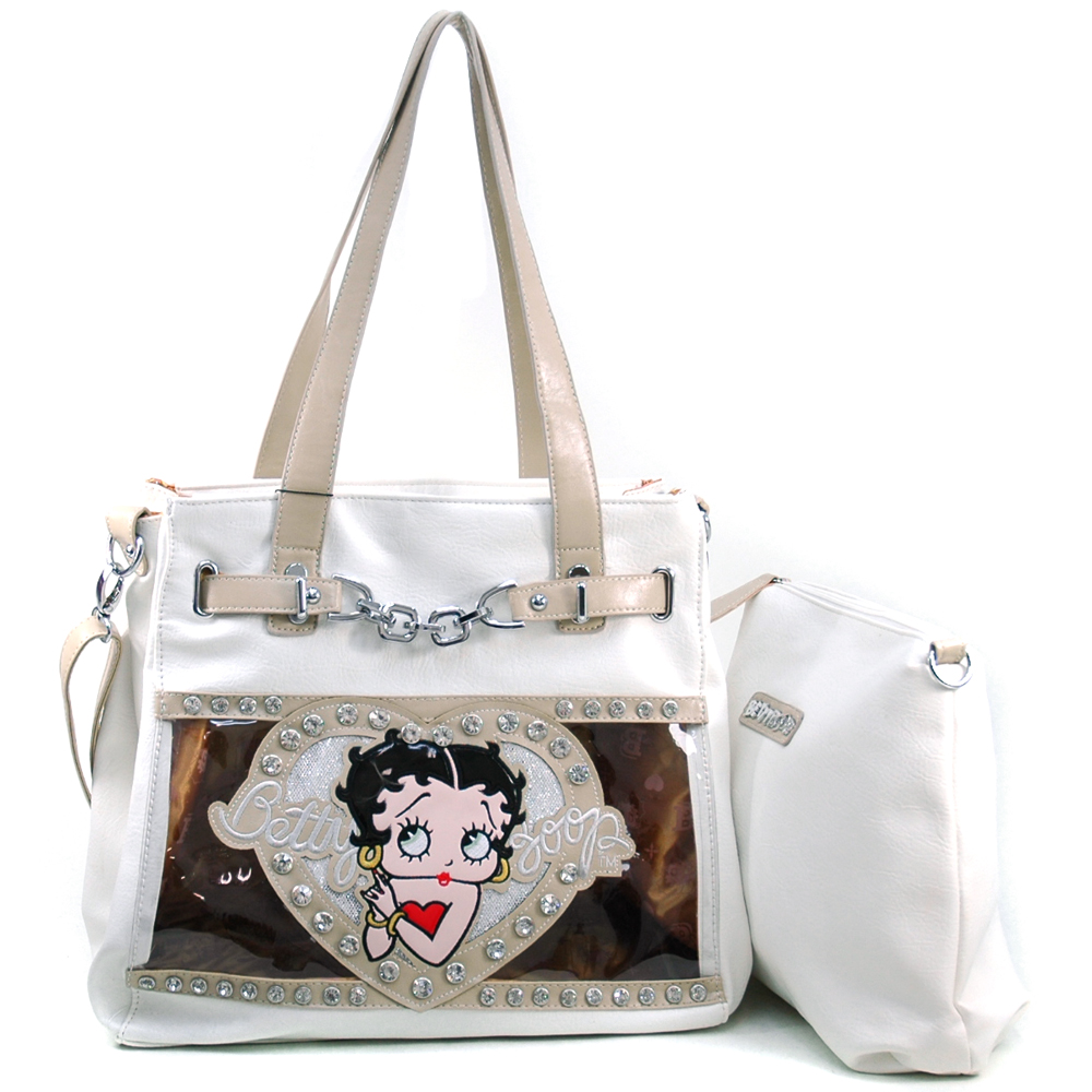 Betty Boop 2-in-1 Tote Bag with Chain Decor Rhinestones & Clear Glossy Accent