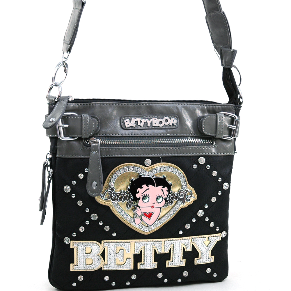 Betty Boop Classic Betty Boop Messenger Bag with Rhinestones & Sequins Glitz