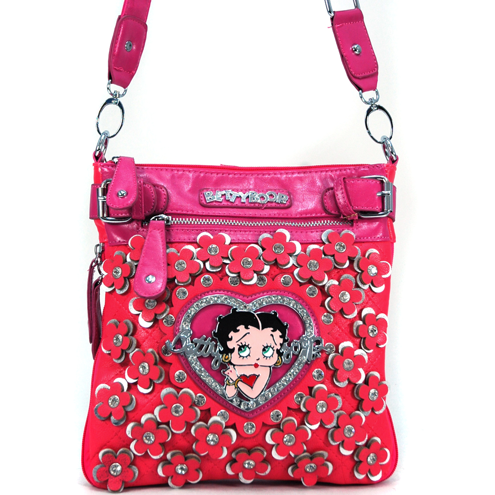 Betty Boop Classic Betty Boop Messenger Bag with Rhinestone Florets