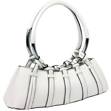 Circle handle shoulder / satchel bag White