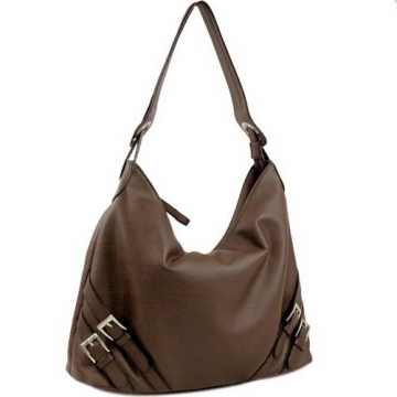 Dasein Designer Inspired Soft Hobo Bag-Brown