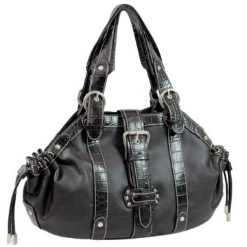Dasein Fashion Buckle Accent Shoulder Bag / Handbag-Black