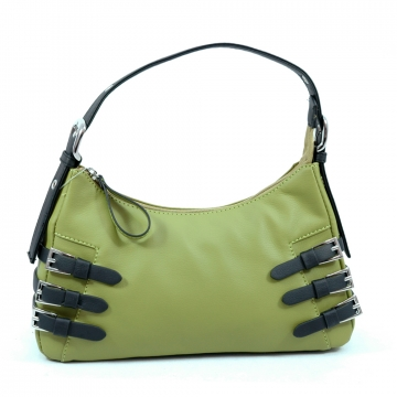Dasein Soft Fashion Shoulder Bag with Belt Accent-Green
