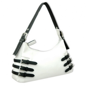 Dasein Soft Fashion Shoulder Bag with Belt Accent-White / Black