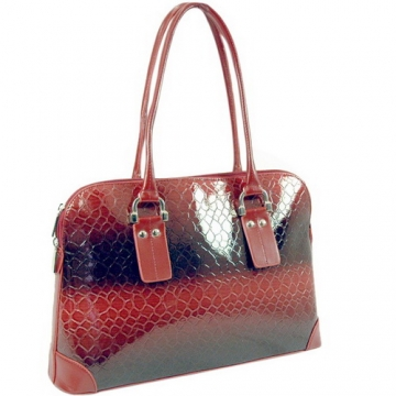 Dasein Patent Leatherette Snake Skin Shoulder Bag-Red