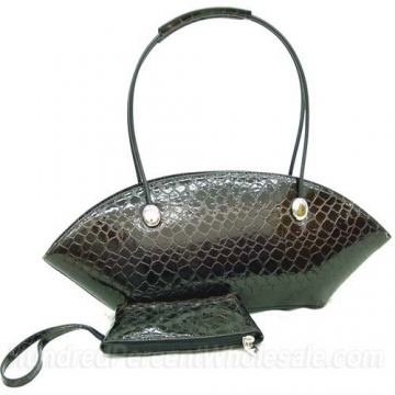 Dasein Patent Leatherette Snake Skin Shoulder Bag-Black