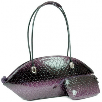 Dasein Patent Leatherette Snake Skin Shoulder Bag-Purple
