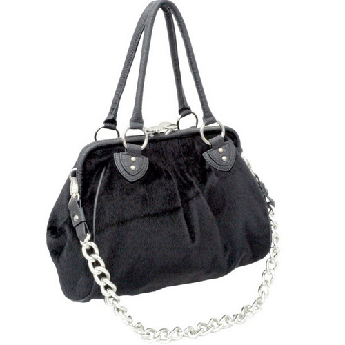 Dasein Faux Fur Handbag with Alligator Trim-Black