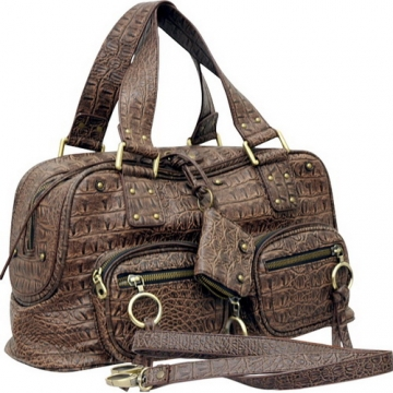 Dasein Alligator Embossed Satchel-Brown