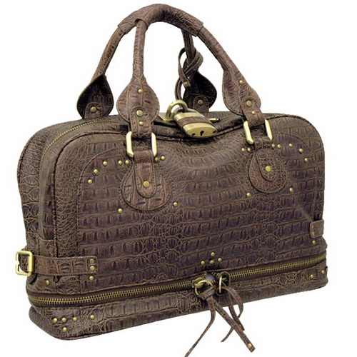 Dasein Designer Inspired Alligator Satchel Bag - Brown