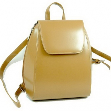 Tan stylish leather backpack purse