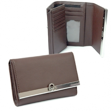 Plain leather like fold over flap with flip clasp wallet