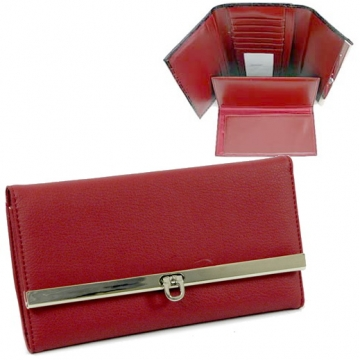 Plain leather like fold over flap with flip clasp checkbook wallet for women Red