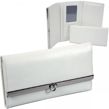 Plain textured leather like fold over flap with flip clasp checkbook wallet Creamy White