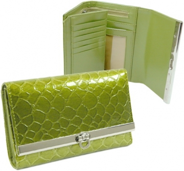 Dasein Snake Skin Embossed Fold Over Flap with Flip Clasp Wallet-Green