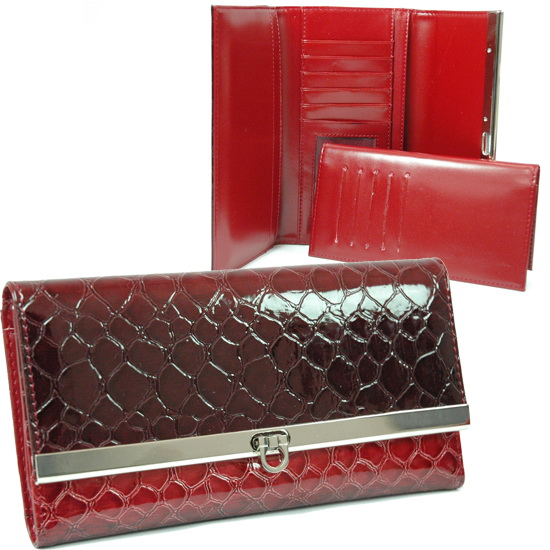 Dasein® Faux Leather Embossed Snake Skin Checkbook Wallet