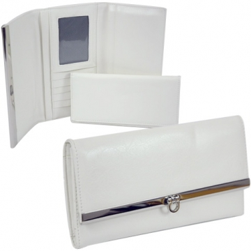 Plain leather like fold over flap with flip clasp checkbook wallet for women  White