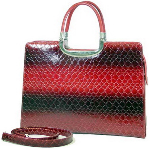 Dasein Lady's Crocodile Skin Embossed Briefcase - Red