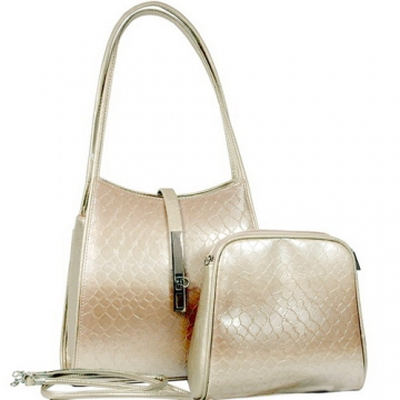 Dasein Cute Patent Leatherette Snake Skin Embossed 2-in-1 Shoulder Bag-Beige
