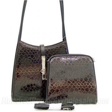 Dasein Cute Patent Leatherette Snake Skin Embossed 2-in-1 Shoulder Bag-Black