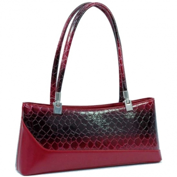 Dasein Elegant Patent Leatherette Snake Skin Shoulder Bag-Red