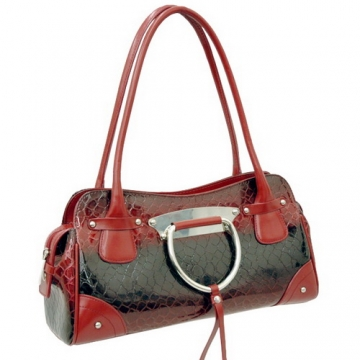 Dasein Patent Leatherette Shoulder Bag-Red