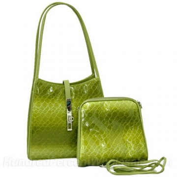 Dasein Cute Patent Leatherette Snake Skin Embossed 2-in-1 Shoulder Bag-Green