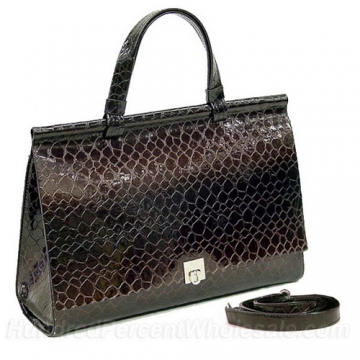 Patent Alligator Skin Embossed Leatherette Briefcase With Shoulder Strap Brown