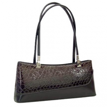 Dasein Elegant Patent Leatherette Snake Skin Shoulder Bag-Black