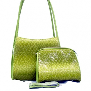 Dasein Patent Leatherette Snake Skin Embossed 2-in-1 Shoulder Bag-Green