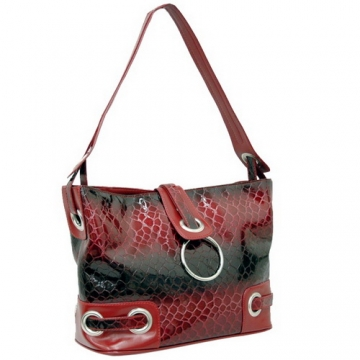 Dasein Patent Leatherette Snakeskin Embossed Hobo Bag-Red