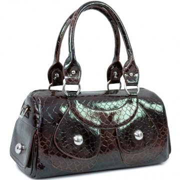 Patent Leatherette snake skin embossed shoulder bag