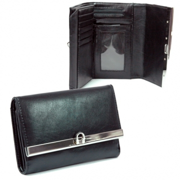 Plain textured leather like fold over flap with flip clasp wallet