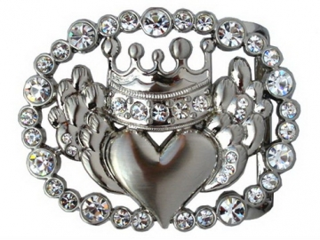 Rhinestone Crown & Heart Belt Buckle