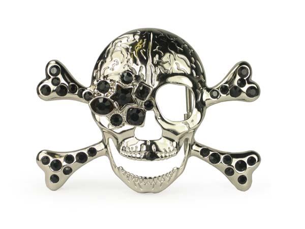 Rhinestone skull and crossbones belt buckle
