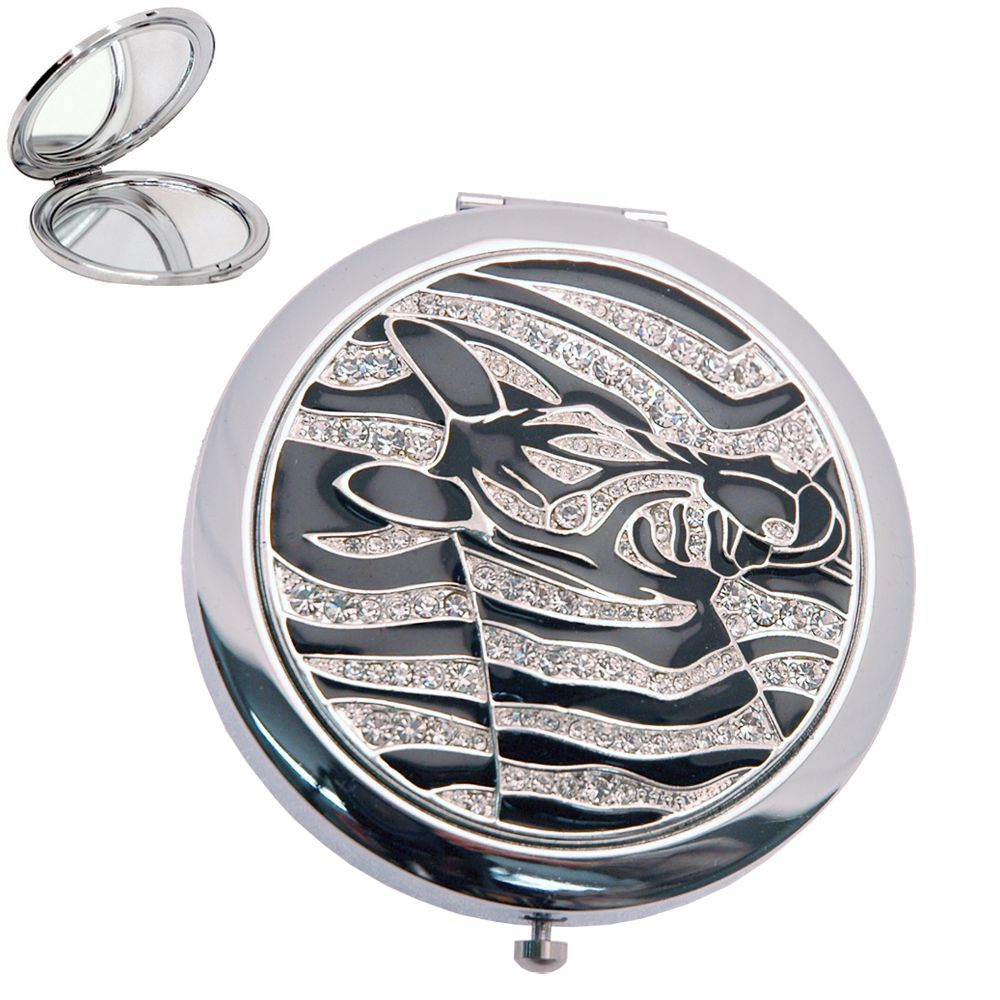 Raised Zebra Compact Mirror with rhinestione